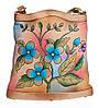 """Жіноча сумка """"Квіти"""", з натуральної шкіри з ручним розписом"""