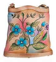 """Женская сумка """"Цветы"""", из натуральной кожи с ручной росписью"""