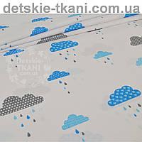 """Ткань хлопковая """"Облака с дождиком"""" голубого цвета № 846"""