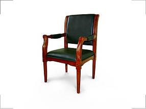 Кресло для конференций Версаль Орех лесной, комбинированная кожа люкс Зеленая (Диал ТМ)