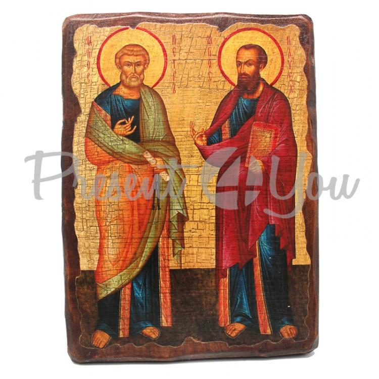 Деревянная икона Святых Петра и Павла, 17х23 см (814-2047)