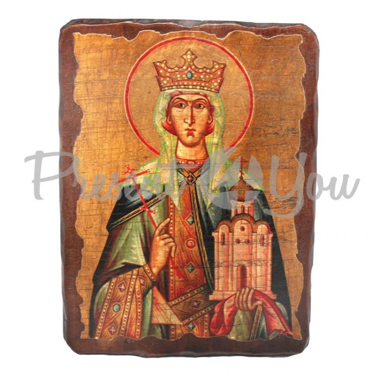 Деревянная икона Святая Людмила, 17х23 см (814-2056)