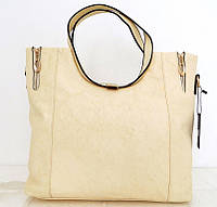 Вместительная женская сумка . Эко-кожа. Молочная, фото 1