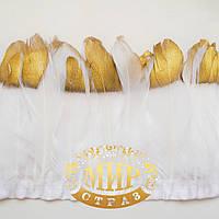 Тесьма перьевая из гусиных перьев.Цвет White+Gold Цена за 0.5м