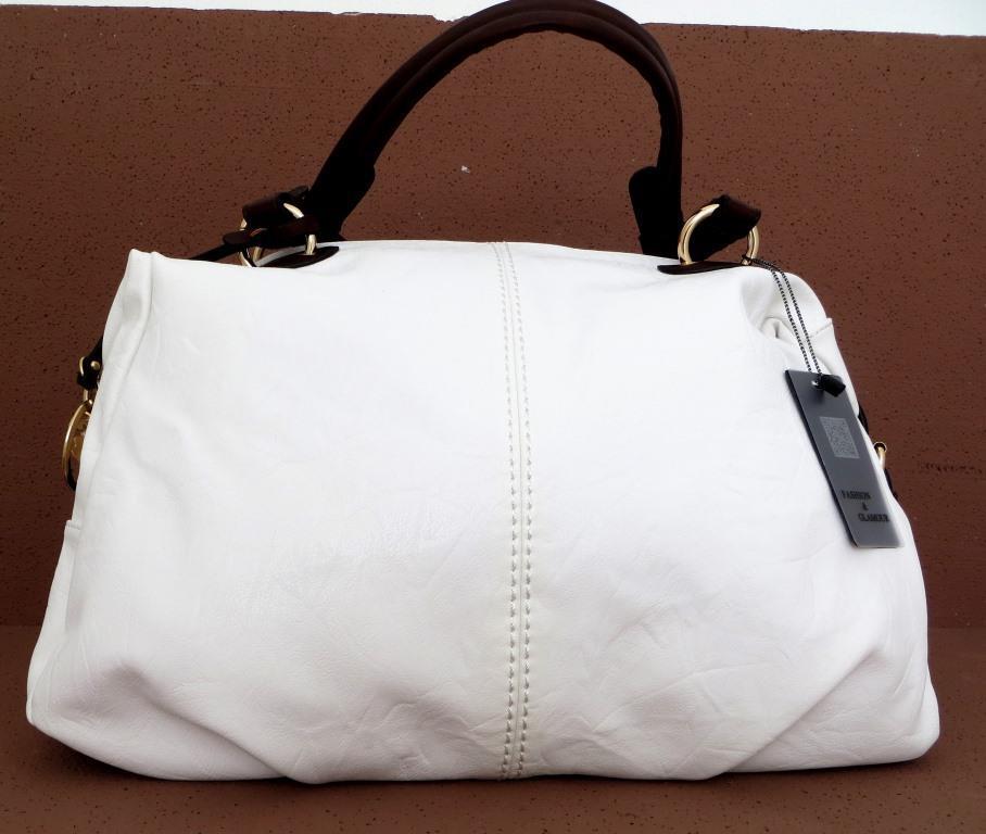 Вместительная женская сумка Эко-кожа  Белая
