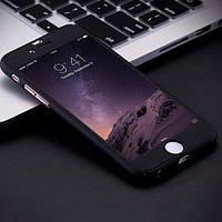 Пластиковый чехол+стекло Полная защита Черный для IPhone 7
