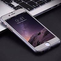 Пластиковый чехол+стекло Полная защита Серебро для IPhone 7