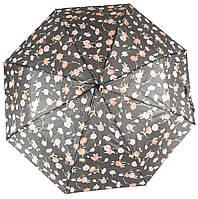 Женский симпатичный стильный прочный механический дешевый зонтик SWIFTs art. 301A черный в розочках (100243), фото 1