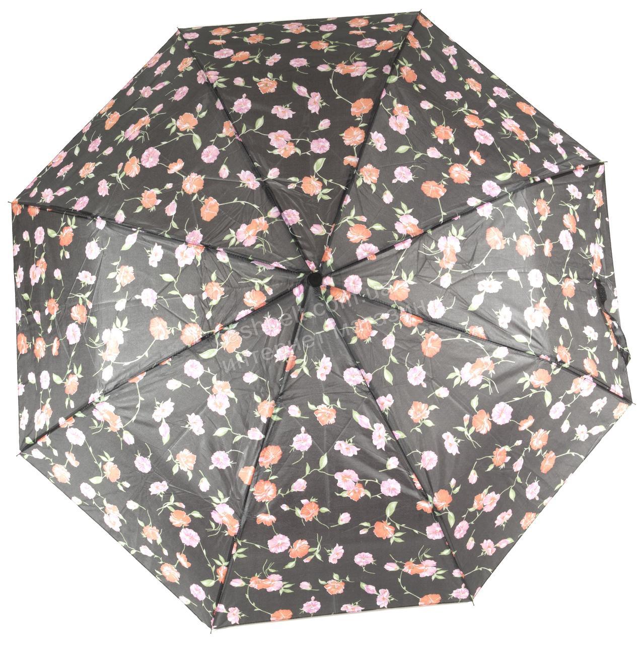 Женский симпатичный стильный прочный механический дешевый зонтик SWIFTs art. 301A черный в розочках (100243)