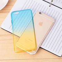 Силиконовый чехол 2х цветный Голубой с желтым для iPhone 7