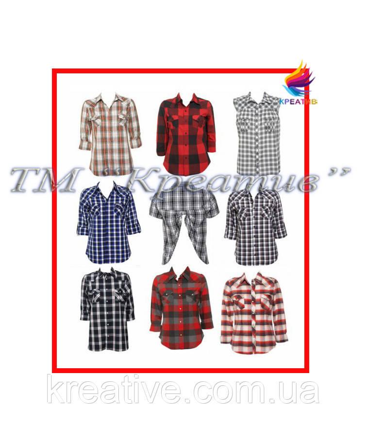 Рубашка в клетку разнообразных фасонов (под заказ от 50 шт) с НДС