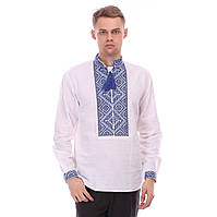 Льняная мужская рубашка с синей вышивкой