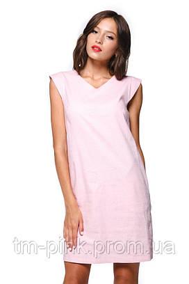 """Сукня пряма з рукавом ззаду виріз льон """"Еко"""" рожева"""