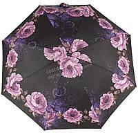 Женский симпатичный компактный прочный механический  зонтик Feeling Rain art. 301M черный в цветах (100826), фото 1