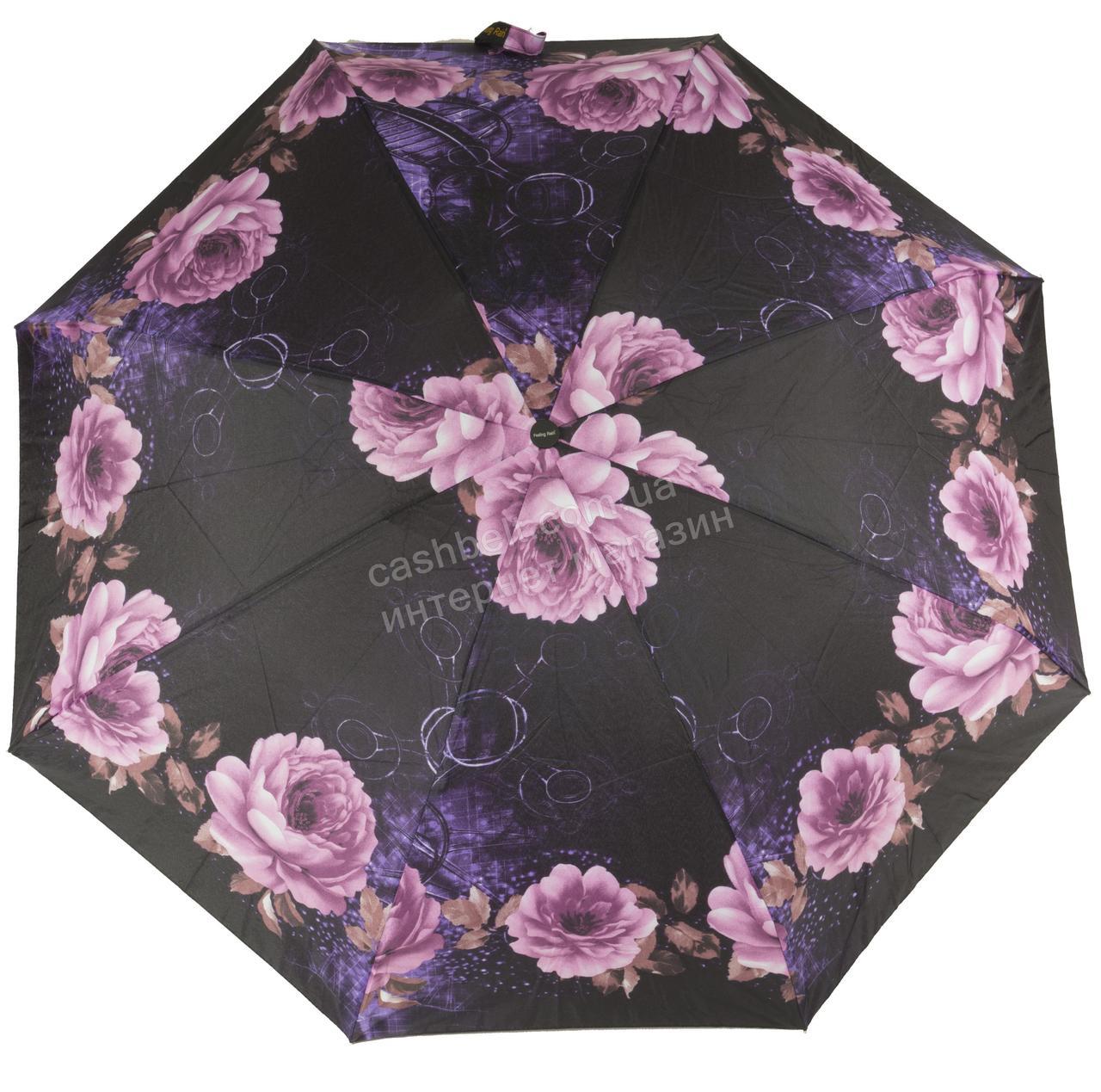Женский симпатичный компактный прочный механический  зонтик Feeling Rain art. 301M черный в цветах (100826)