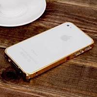 Металлический бампер ультратонкий 0.7мм Золотой Gold для IPhone 4/4s
