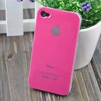 Чехол Пластик c логотипом Ярко розовый для IPhone 4/4s