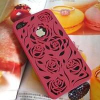 Чехол накладка розы Красный для IPhone 4/4s