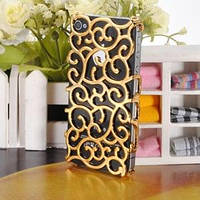 Чехол накладка Королевский цветок Золотой для IPhone 4/4s