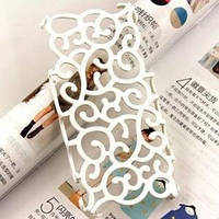 Чехол накладка Королевский цветок Белый для IPhone 4/4s