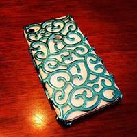 Чехол накладка Королевский цветок Голубой для IPhone 4/4s