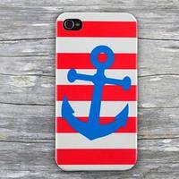 Чехол ультратонкий пластиковый эксклюзив Blue anchor Синий якорь для IPhone 4/4s