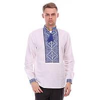 Льняная мужская рубашка с синей вышивкой 46