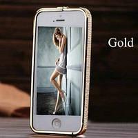Золотой металлический бампер с камнями Swarovski для IPhone 5