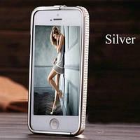 Серебристый металлический бампер с камнями Swarovski для IPhone 5
