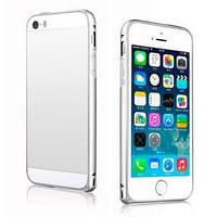 Металлический бампер ультратонкий 0.7мм Jecksion Серебро Silver для IPhone 5