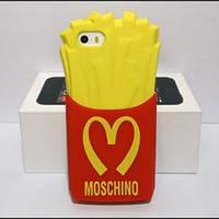 Силиконовый чехол Картошка фри Moschino для iPhone 5/5s