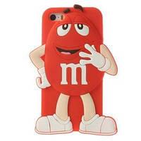 Силиконовый чехол 3D M/M's (эм-энд-эмс) Красный на iPhone 5/5S