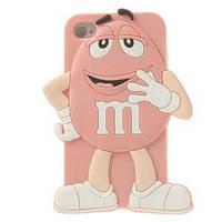 Силиконовый чехол 3D M/M's (эм-энд-эмс) Светло Розовый на iPhone 5/5S