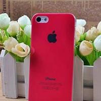 Чехол Пластик c логотипом Ярко розовый для IPhone 5
