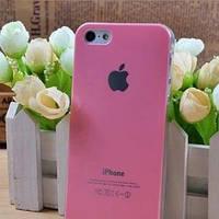 Чехол Пластик c логотипом Бледно-Розовый для IPhone 5