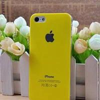 Чехол Пластик c логотипом Желтый для IPhone 5/5s