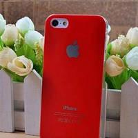 Чехол Пластик c логотипом Красный для IPhone 5