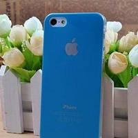 Чехол Пластик c логотипом Голубой для IPhone 5