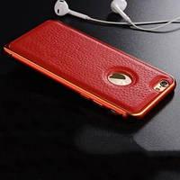 Металлический бампер 0.7мм с кожаной вставкой Красный для IPhone 6