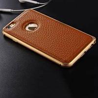 Металлический бампер 0.7мм с кожаной вставкой Коричневый для IPhone 6