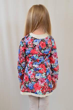 Костюм двойка для девочки из высококачественной ткани стрейч коттон ткани в цветочек, фото 3