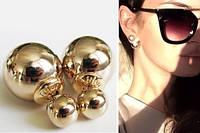 Серьги-гвоздики двойные (пуссеты) Dior (Диор) под золото