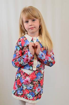 Костюм двойка для девочки из высококачественной ткани стрейч коттон ткани в цветочек, фото 2
