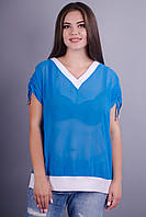 Дениз. Летняя блуза из шифона plus size. Голубой.