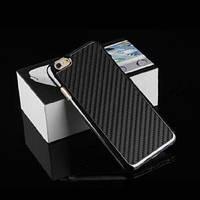Пластиковый чехол с карбоновой накладкой черный для iPhone 6