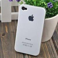 Чехол Пластик c логотипом Белый для IPhone 4/4s