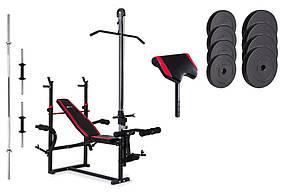 Набор Hop-Sport Premium 40 кг со скамьей HS-1070 с тягой и партой , фото 2