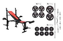 Набор Hop-Sport Strong штанга и гантели 83 кг со скамьей HS-1055 , фото 2