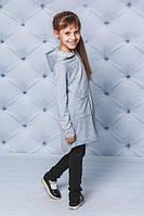 Кардиган для девочки с капюшоном светло-серый