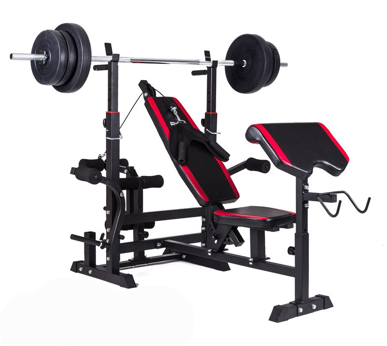 Набір Hop-Sport Premium 74 кг з лавою HS-1075 з тягою і партою